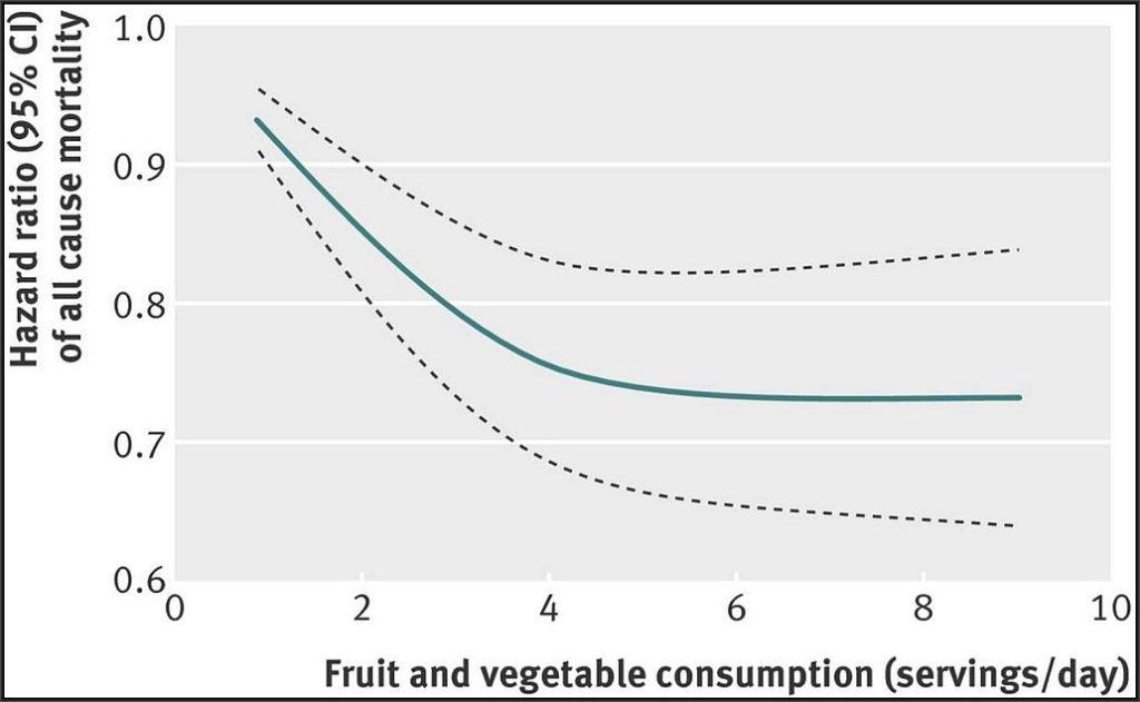 野菜・果物の摂取量と死亡率の関係